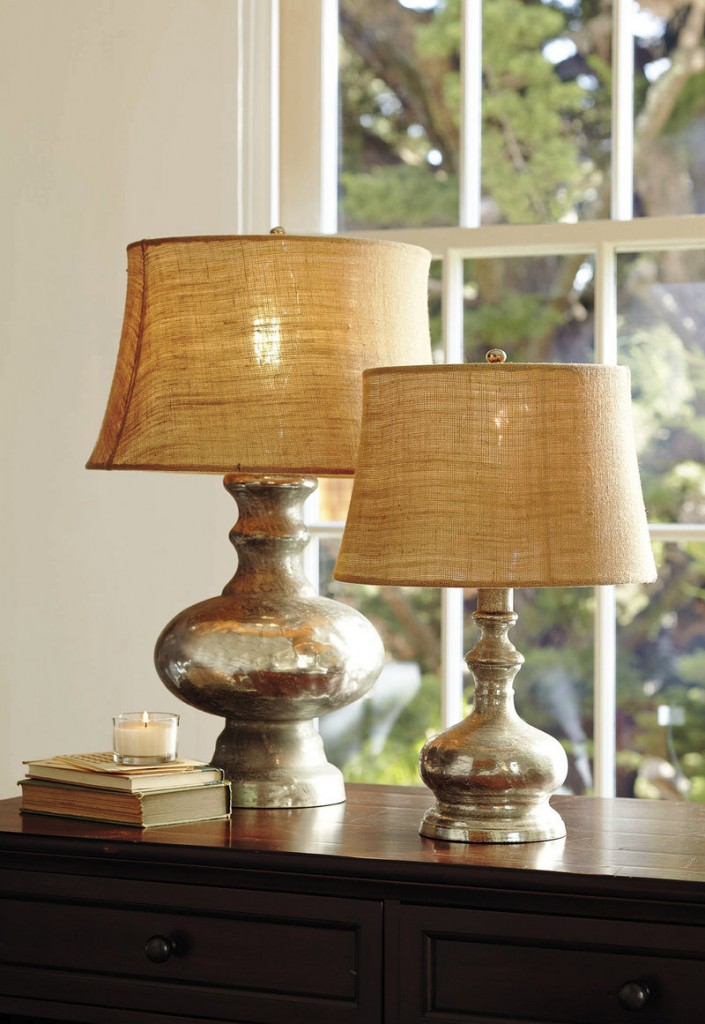 A pair of antiqued mercury glass lamps, also from Pottery Barn