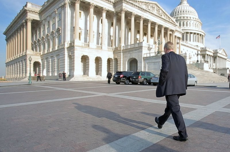 Sen. Angus King arrives at the Capitol on a spring morning. King says Senate leaders have respected his independence.