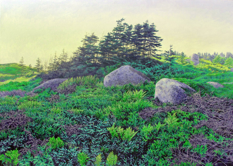 """""""Resting Boulders,"""" acrylic by Janice Anthony."""