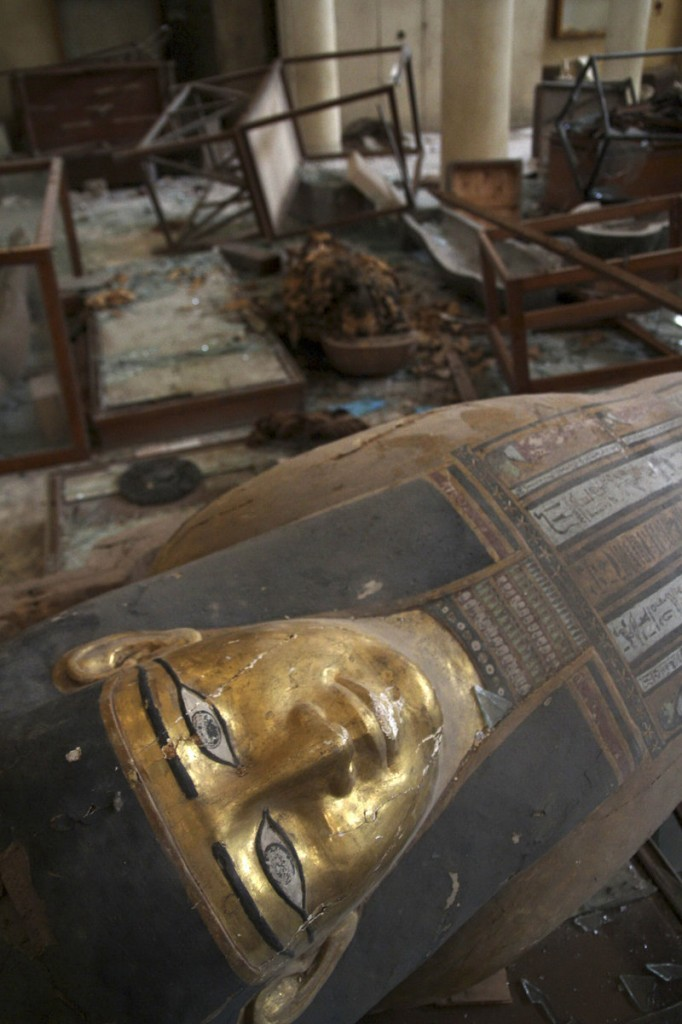 Damaged pharaonic objects lie on the floor of the Malawi Antiquities Museum after it was ransacked and looted late last week.