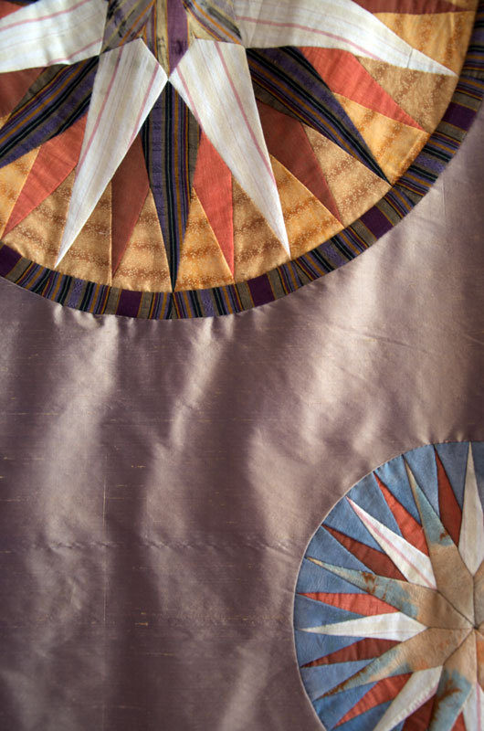 """Detail of a quilt by Karen Munson, from """"Hidden Histories,"""" an exhibition of fiber art that also includes work by Sallie Findlay and Debra Spaulding and continues through Aug. 29 at Maine Fiberarts in Topsham."""