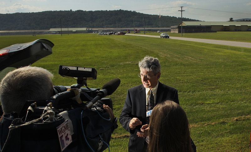 Deputy Maine Attorney General William Stokes briefs media at Moark Egg Farm in Turner on Tuesday.