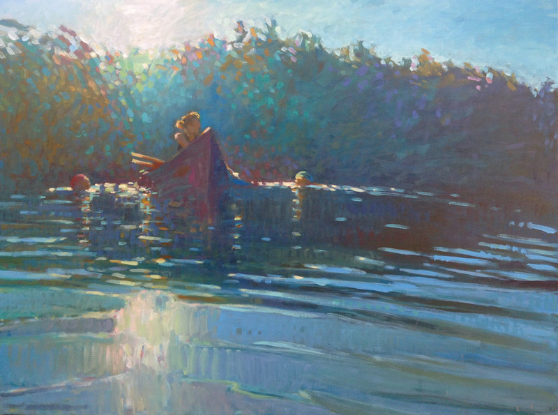 """""""So Bright, the Morning Light on the Surface,"""" oil on panel by Jessica Stammen."""