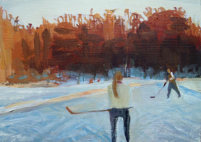 """""""Sunday Pond Hockey I,"""" oil on panel by Jessica Stammen."""