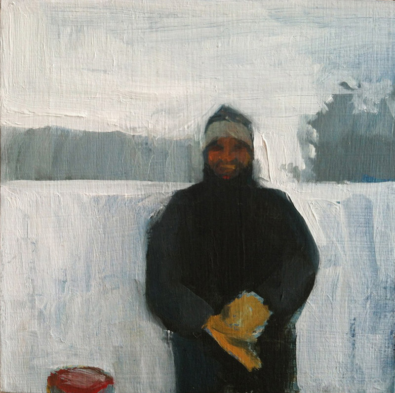 """""""Dad and His Mittens,"""" oil on panel by Jessica Stammen."""