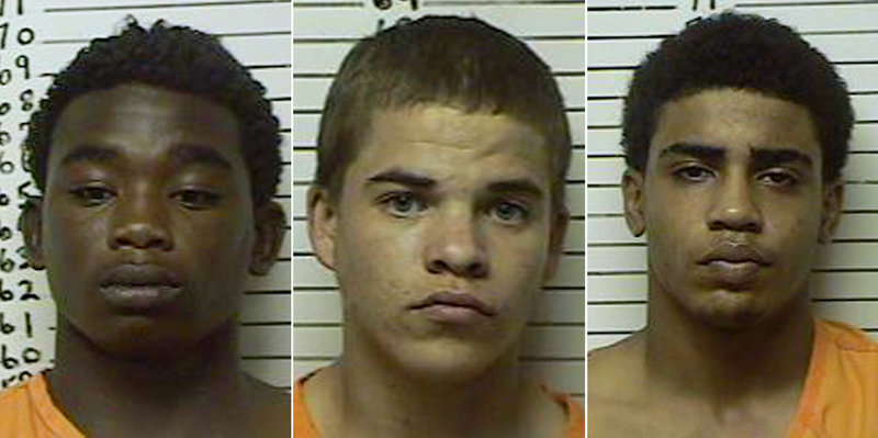 Booking photos show, from left, James Francis Edwards Jr., 15, Michael Dewayne Jones, 17, and Chancey Allen Luna, 16, all of Duncan, Okla., who have been charged in connection with the killing of 22-year-old Australian collegiate baseball player Christopher Lane.