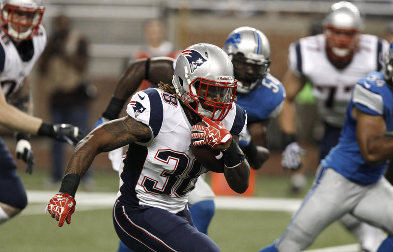 Patriots running back Brandon Bolden, fighting for a roster spot, didn't return to the game after his fumble in the first half.