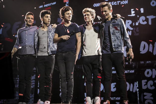 """One Direction – from left, Liam Payne, Zayn Malik, Harry Styles, Niall Horan and Louis Tomlinson – in """"This Is Us."""""""