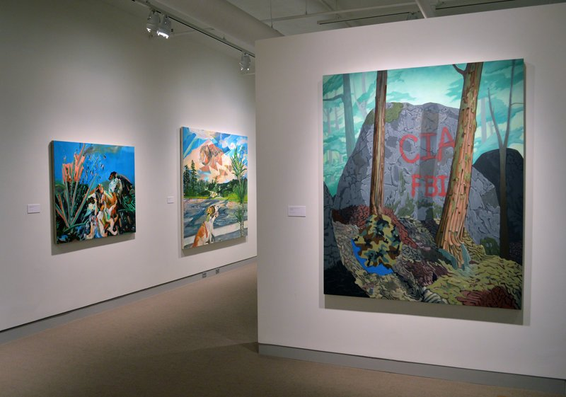 """Works from """"Travel in My Borrowed Lives"""" by Sean Downey, near left, and Rachelle Agundes, continuing with """"Monhegan: A New Perspective,"""" paintings by Emily Trenholm, and """"Three Chords,"""" paintings by Joanne Freeman, through Sept. 21 at the University of Maine Museum of Art in Bangor."""