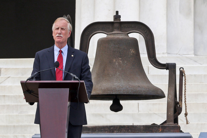 Sen. Angus King speaks Wednesday at the Lincoln Memorial as part of the 50th anniversary of the March on Washington.