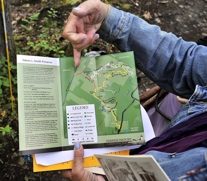 A brochure provided by the Kennebunkport Conservation Trust shows where the Trolley Trail hooks up with the Smith Preserve's trails.