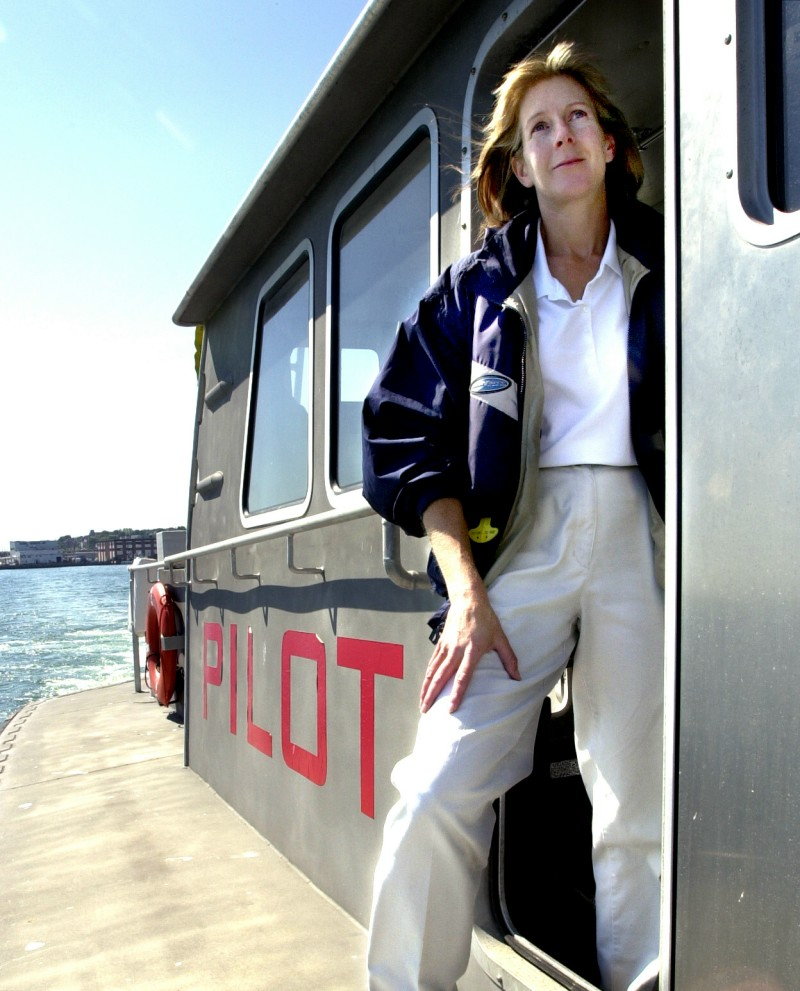 Susan Clark in 2005 aboard a pilot boat heading out of Portland Harbor to a waiting container ship.
