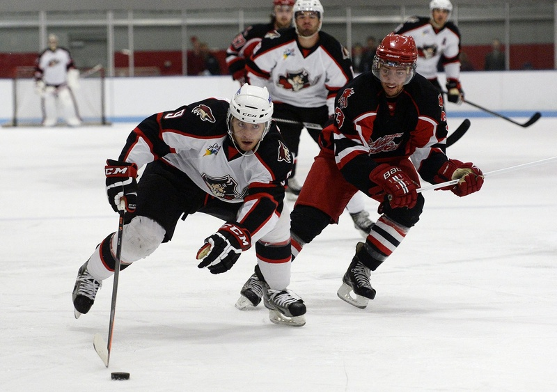 Tobias Rieder of the Portland Pirates takes the puck down the ice as Marc-Antoine Desnoyers of the University of New Brunswick moves in during an exhibition at MHG Ice Centre in Saco on Wednesday.