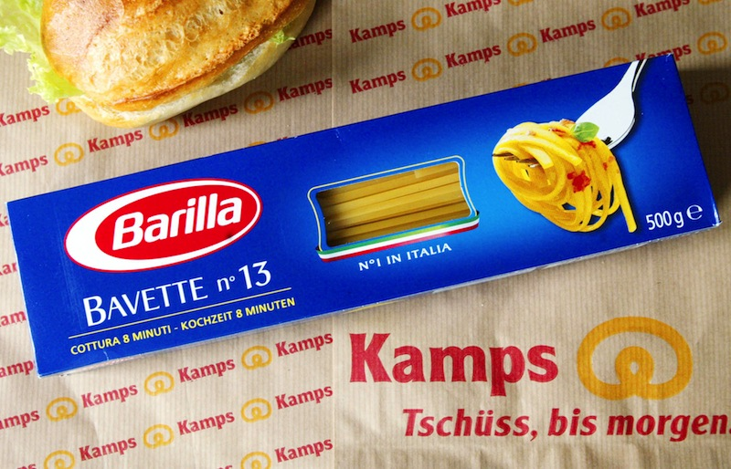 A wrapping of Italian pasta maker Barilla is posed on a roll bag of the German bakery Kamps. An executive of the Italy-based pasta maker Barilla has apologized for hurting anyone's