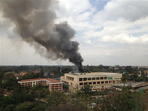 Heavy smoke rises from the Westgate Mall after a series of explosions, in Nairobi, Kenya, on Monday.