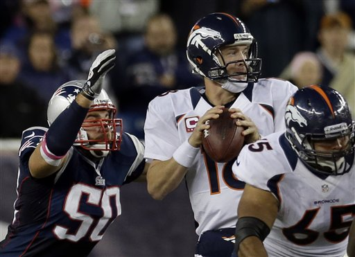 In this October 2012 file photo, New England Patriots defensive end Rob Ninkovich (50) closes in to strip the ball from Denver Broncos quarterback Peyton Manning (18). Ninkovich has 19 sacks over the past three-plus season. (AP Photo/Elise Amendola)