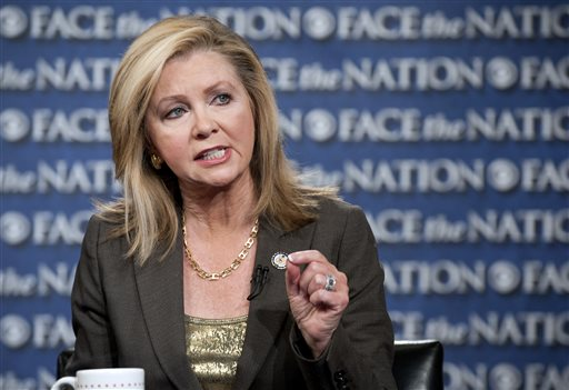 This image provided by CBS News shows Rep. Marsha Blackburn, R-Tenn., speaking with Bob Schieffer on
