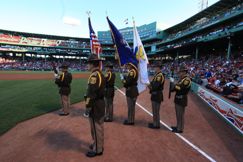 The Cumberland County Sheriff's Office honor guard performs June 4 at Fenway Park on Boston.