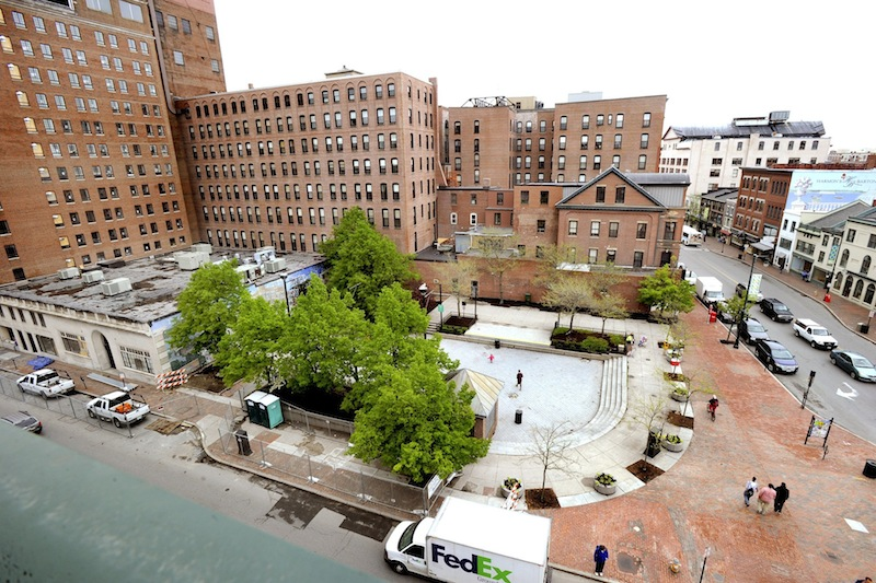 An aerial view of Congress Square Plaza in downtown Portland on Wednesday, May 22, 2013.