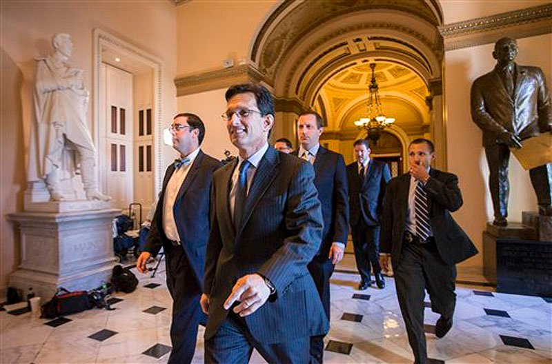 House Majority Leader Eric Cantor, R-Va., leaves the floor of the House on Friday. The Republican-controlled House passed a bill that would prevent a government shutdown while crippling the Affordable Care Act. It has little chance of passage in the Senate.