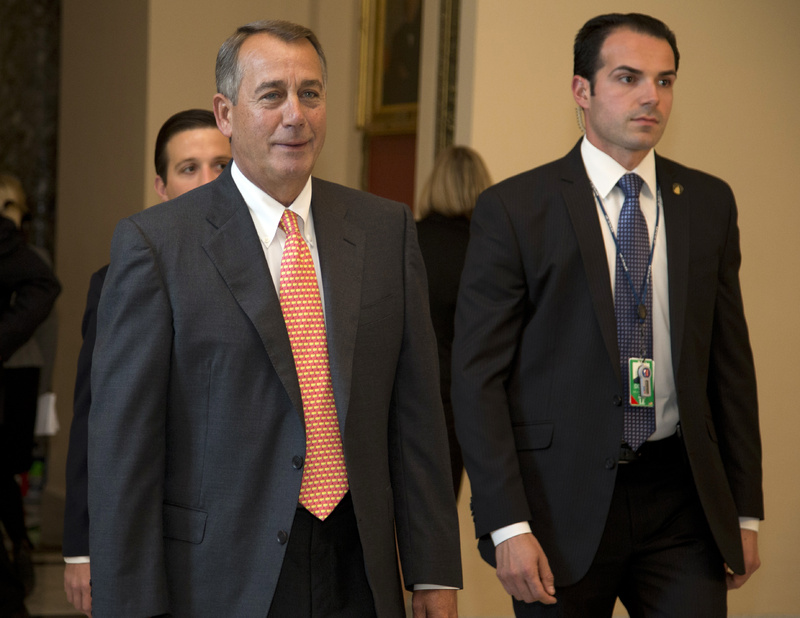 House Speaker John Boehner of Ohio walks to vote on the House floor on Capitol Hill on Thursday in Washington. Boehner and House Republicans scrambled up just enough votes Thursday to reduce food stamp funding by nearly $40 billion over the next decade if the Senate approves their bill.
