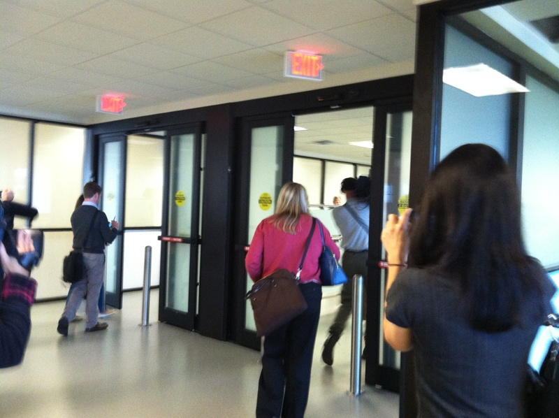 People heading in the right direction out an exit are monitored by a new security system Tuesday at the Portland International Jetport.