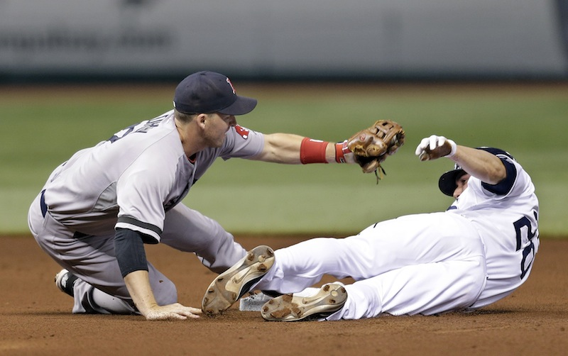 Boston Red Sox shortstop Stephen Drew tags out Tampa Bay Rays' Matt Joyce attempting to steal second base during the fourth inning Tuesday.
