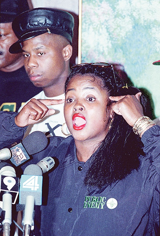 Rap artist Sister Souljah, seen at a 1992 news conference, made claims that then-presidential candidate Bill Clinton wasn't in touch with the problems of black America.