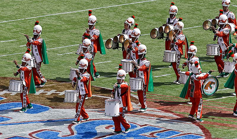 The Florida A&M University band performs at halftime Sunday in Orlando, Fla., during FAMU's season-opening football game against Mississippi Valley State – its first appearance in a football stadium in nearly 22 months after the 2011 hazing death of a drum major.