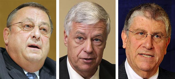 Gov. Paul LePage, U.S. Rep. Mike Michaud and indepedent gubernatorial candidate Eliot Cutler.