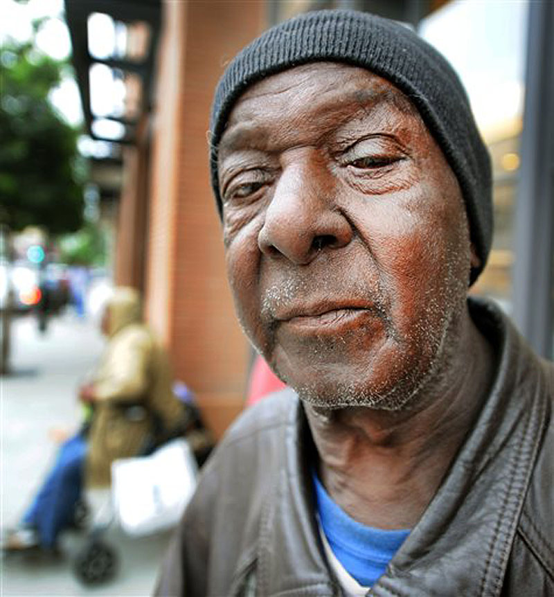 Thomas Williams is one of the homeless people recruited to wait to buy iPhones in Pasadena, Calif.