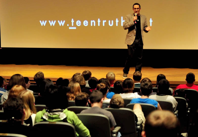 Presenter Erahm Christopher of the Teen Truth organization delivers his anti-bullying message to Mount View Middle School students in Thorndike on Monday, Sept. 23, 2013.