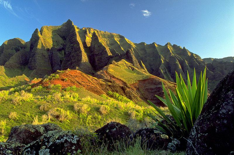 The Kalalau Trail on Kauai, the oldest of Hawaii's major islands, passes through the Kalalau Valley as well as rainforests.