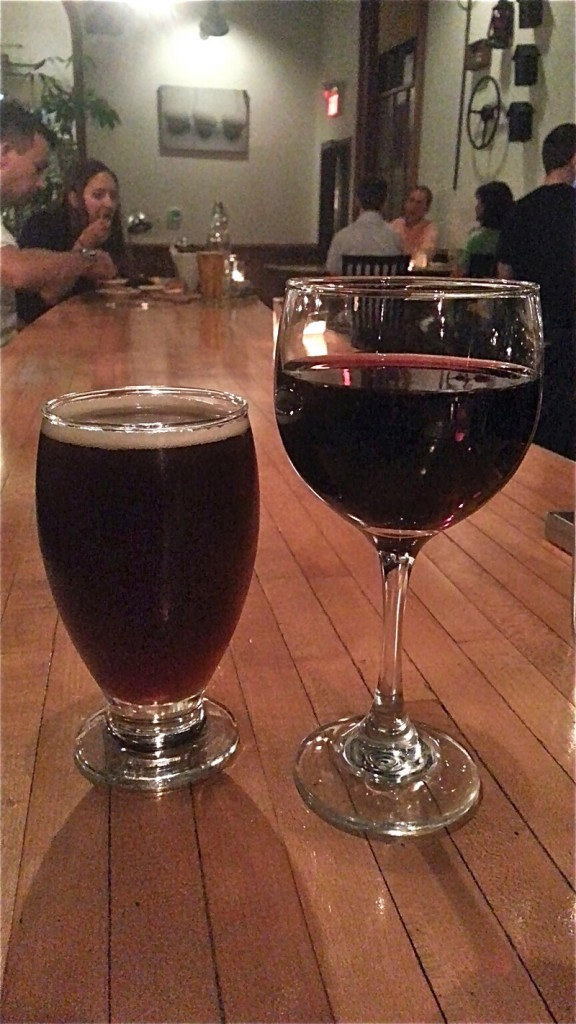 Pretty Things Quad beer for $9 and a glass of Gotham Project red blend for $6.
