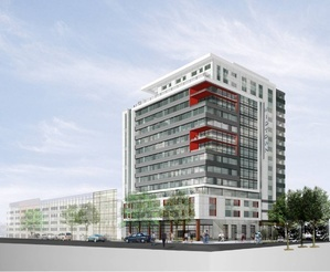 """An artist's rendering of the first phase of the Bayside apartment and retail complex known as midtown. A critic of the project says that it would permanently alter """"the face of Portland."""""""
