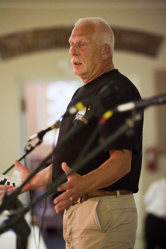 Maine Lobstermen's Union President Rock Alley speaks during the Labor Day breakfast at the Irish Heritage Center.