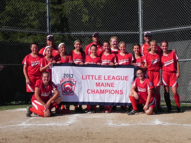 Scarborough's 11-12 softball All-Star team won the Little League state championship on July 12 in Rockland and went on to compete in the Eastern Regional at Bristol, Conn., where it finished with a 2-3 record. Team members, from left to right: Kneeling: Hunter Greenleaf and Marina Clough; Middle row: Logan Bruns, Ava McDonald, Sydney Michelson, Felicia O'Reilly, Courtney Brochu, Laura Powell, Mia Kelley, Ivy DiBiase, Kaitlin Verreault and Sarah Berube; Back row: Coach Chris Kelley, Coach Jere Michelson, Sydney Plummer and Manager Mike O'Reilly.