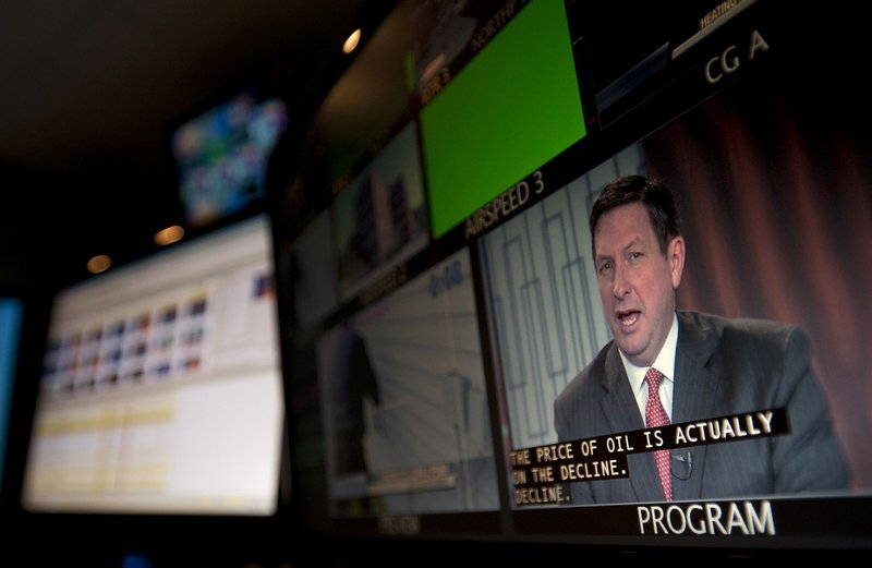 WGME-TV anchor Jeff Peterson is shown on a screen in the control room during a broadcast. WGME is owned by Sinclair Broadcasting, which would control the news broadcasts to a third of the nation if all of its recent acquisitions are approved.