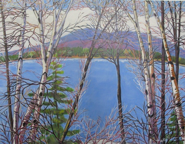 """""""Maine Blue,"""" acrylic by Jane Dahmen, from """"Through the Trees,"""" the exhibition of her work continuing through Sept. 28 at Gleason Fine Art in Portland. A reception will be held from 5 to 8 p.m. Friday."""