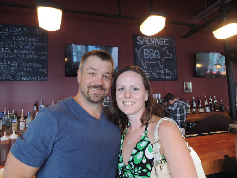 Chris and Lauren Austin, of Falmouth, belly up to Salvage BBQ bar.