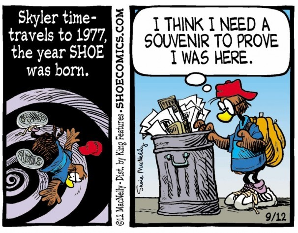 """A character from """"Shoe"""" takes part in a 2012 retrospective. Criticism of a decision to add this and other strips to the Sunday Telegram comics section led to a spirited defense of the strips."""