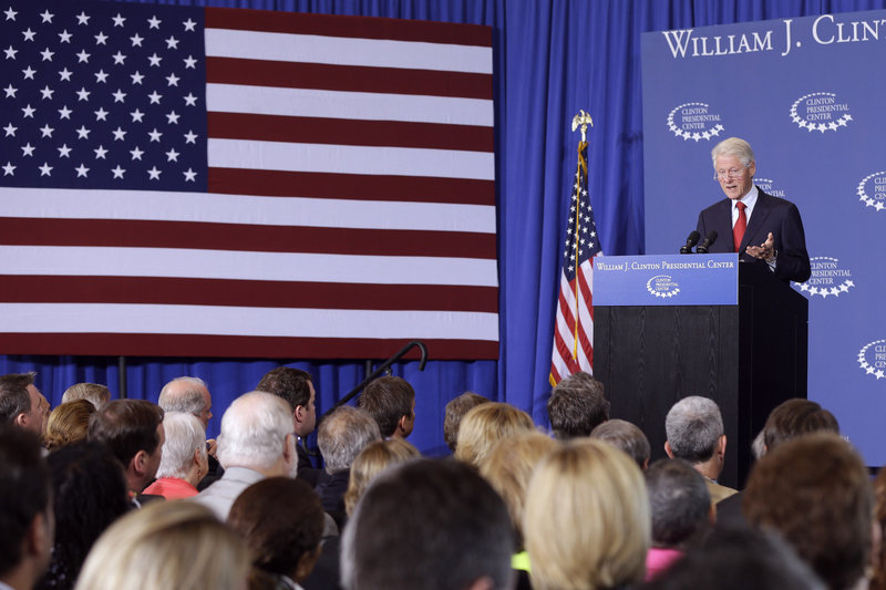"""Dubbed """"secretary of explaining stuff"""" by President Obama, Bill Clinton makes a case for the Affordable Care Act on Wednesday in Little Rock, Ark."""