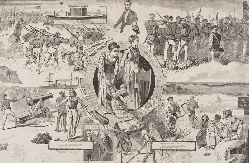 """""""1860-1870,"""" from Harper's Weekly, January 8, 1870, a gift of Peggy and Harold Osher."""