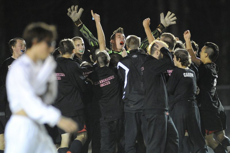 Pat Stanton of Scarborough has been in goal for the last two Class A state finals. He plays his best in the big games.