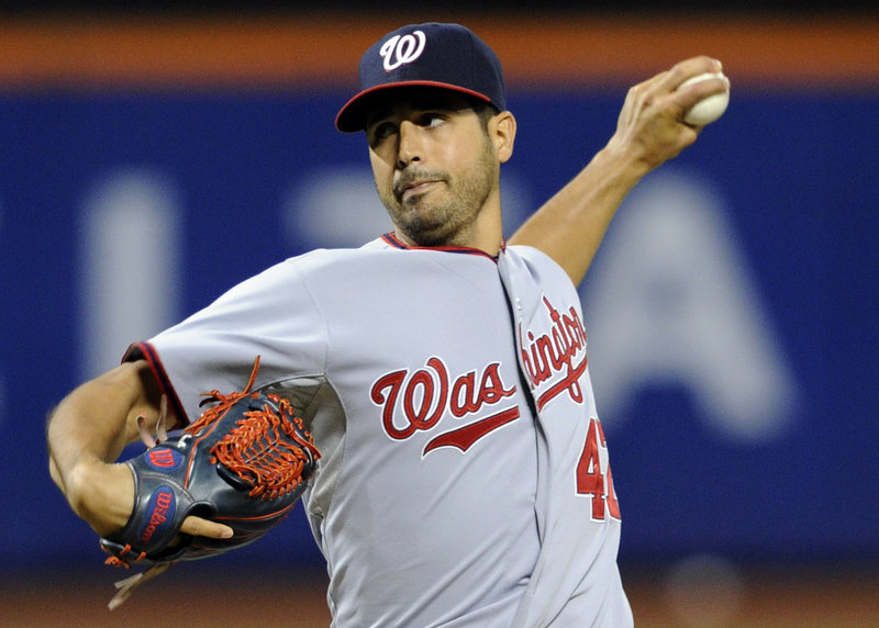 Gio Gonzalez of the Nationals throws a one-hitter Monday in a 9-0 win over the Mets at New York. Gonzalez allowed just a single by Zach Lutz that was just fair in the seventh.