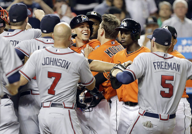 Rookie pitcher Jose Fernandez of the Miami Marlins was the center of attention Wednesday night while showboating on the mound and the bases against the Atlanta Braves.