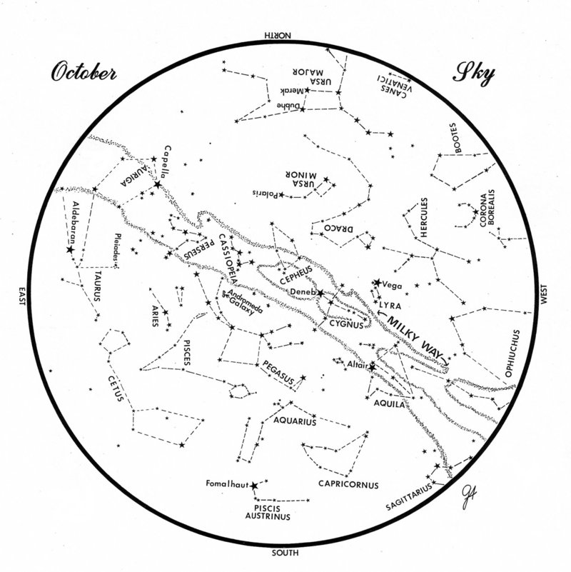 SKY GUIDE:This chart represents the sky as it appears over Maine during October. The stars are shown as they appear at 10:30 p.m. early in the month, at 9:30 p.m. at midmonth and at 8:30 p.m. at month's end. There are no planets visible at map times.To use the map, hold it vertically and turn it so that the direction you are facing is at the bottom.