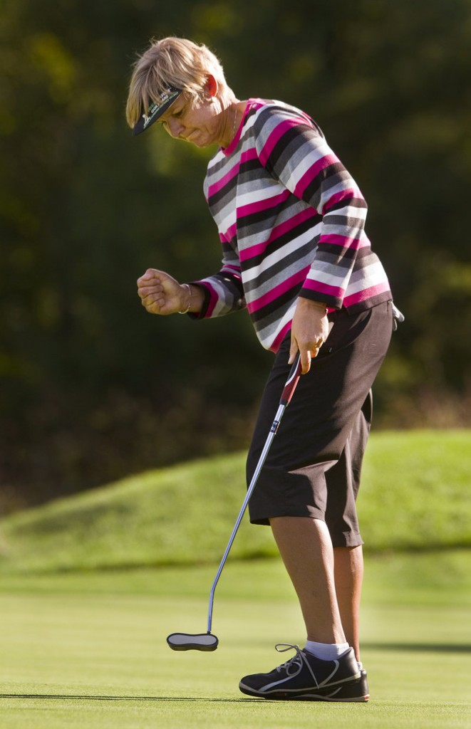 First-round leader Barb Mucha only gets better as play progresses at the Harris Golf Charity Classic.