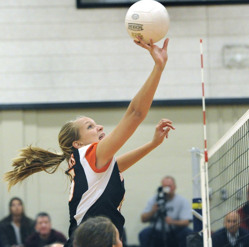 Biddeford's Bailey Cote, seen in the Class A tournament last year, has moved from her former middle hitter position to the outside this year.