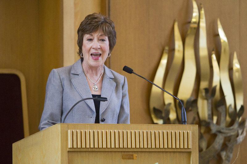 U.S. Sen. Susan Collins speaks about a strong U.S.-Israel alliance at Temple Beth El on Sunday.